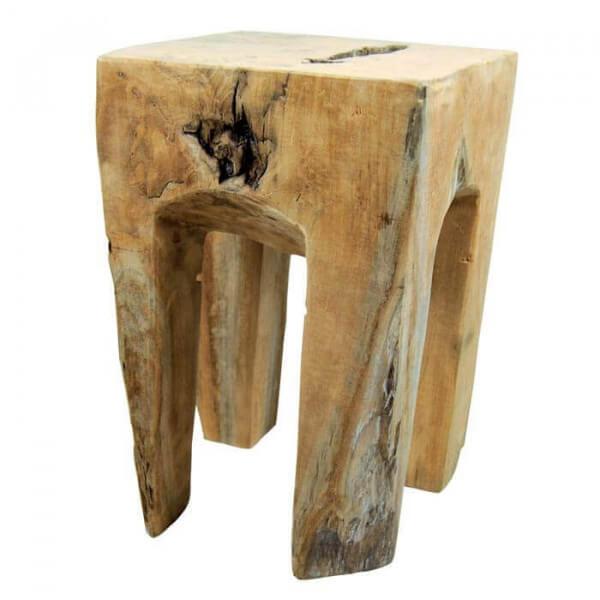 Tabouret teck massif · tabouret bas bois racine