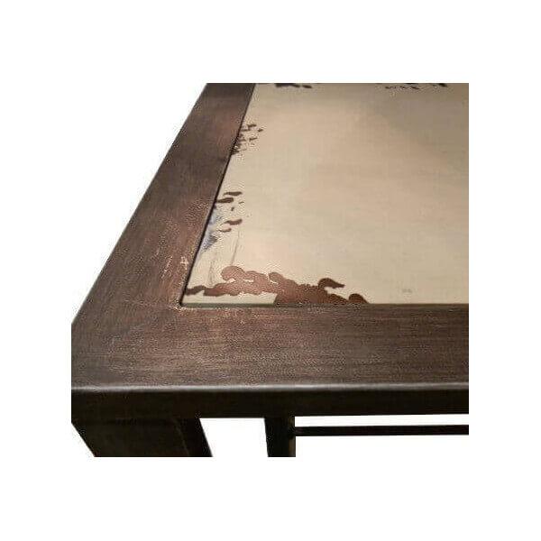 Console Bois Et Acier - Console métal brossé industrielle vintage Ivoire en bois et acier