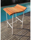 SURF - Bar stool in wood and white steel