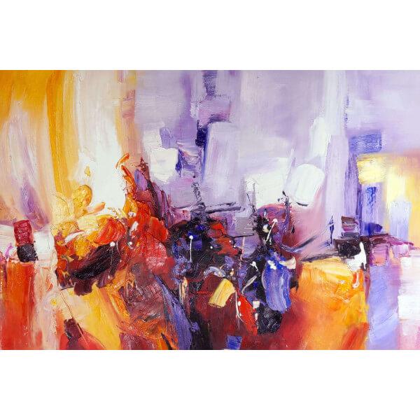 Tableau abstrait violet orange - Tableau abstrait contemporain ...