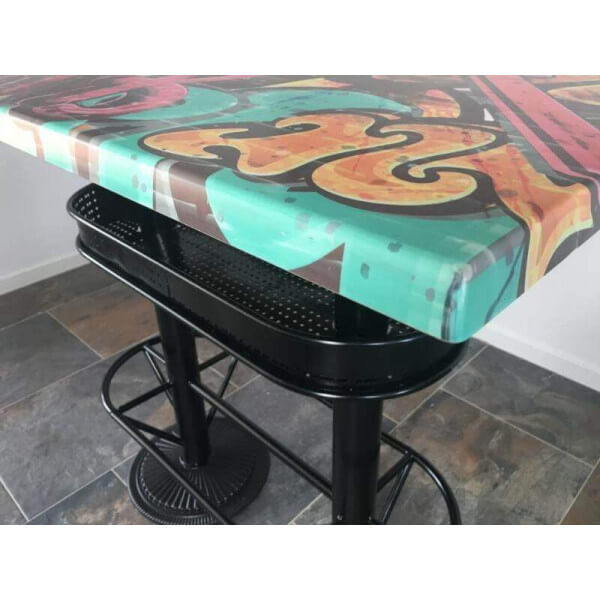 Table haute style industriel graffiti - Table haute originale ...