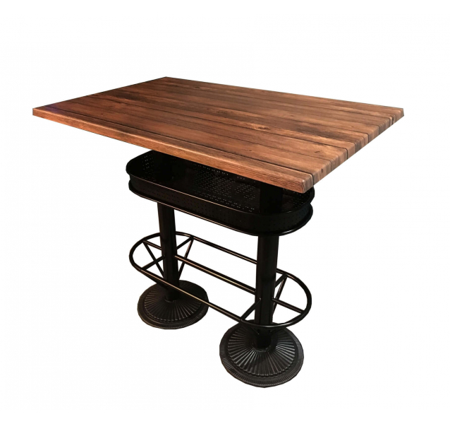 Table haute industrielle avec plateau aspect bois for Table exterieur industriel