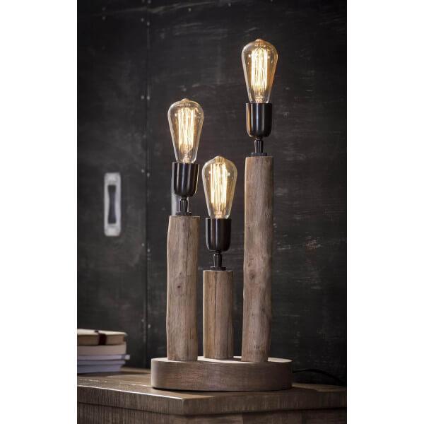 Floating wood lamp