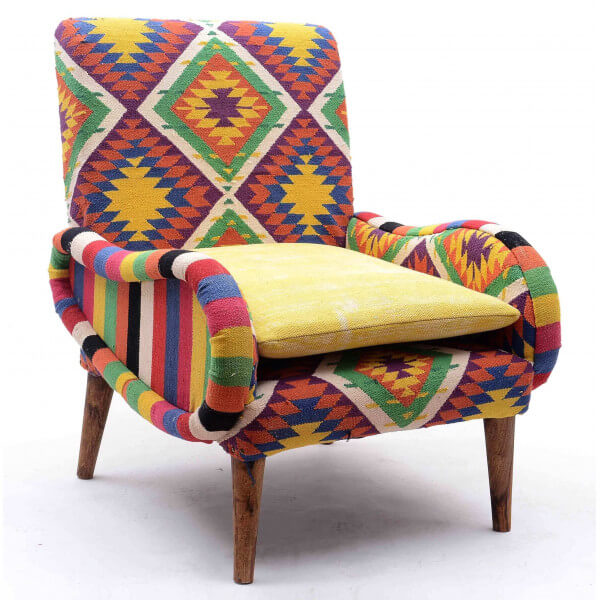fauteuil tissu kilim multicolore. Black Bedroom Furniture Sets. Home Design Ideas