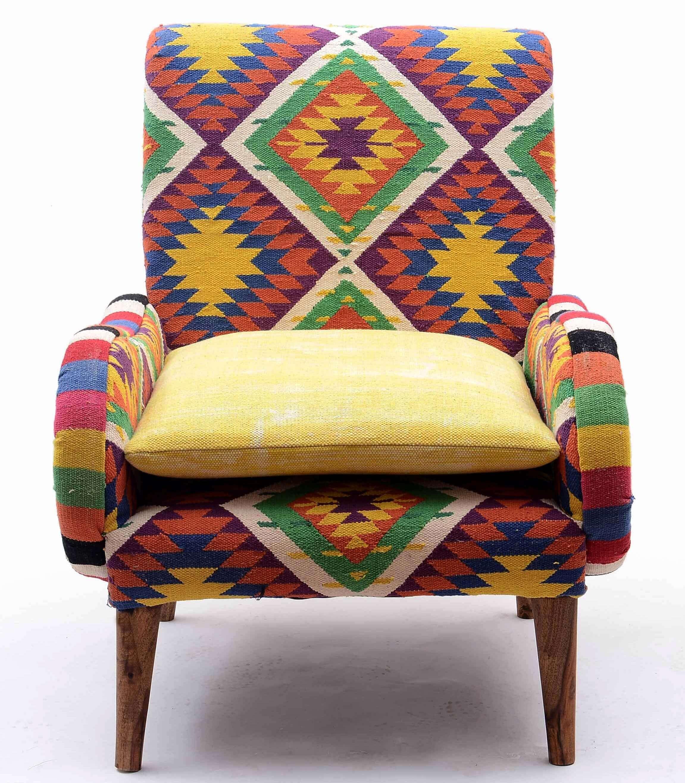 Colorful Kilim Fabric Armchair
