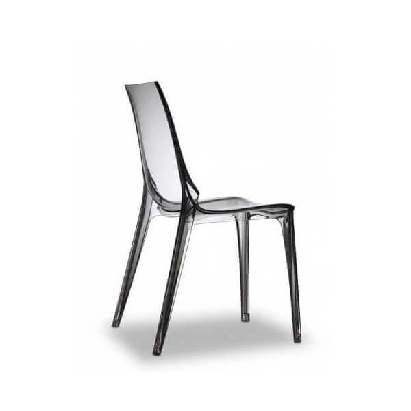 Chaise transparente gris fumée