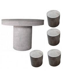 Table ronde et tabouret béton