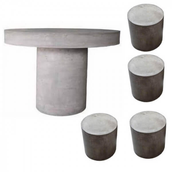 Outdoor Concrete Table With 4 Stools