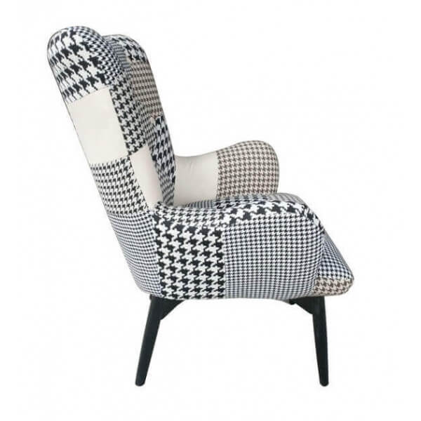black and white patchwork armchair scandinavian style. Black Bedroom Furniture Sets. Home Design Ideas