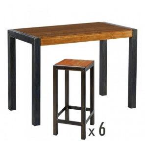 table tabourets haut bois acier