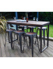 NEVADA - Heigh dining set 180 cm dark solid wood and steel