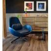 fauteuil design aspect cuir bleu