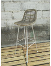 GRAFIK - Rattan and white steel bar stool