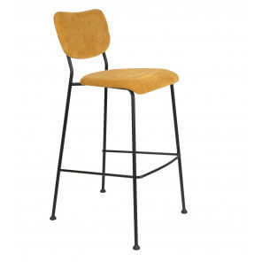 Yellow Velvet bar stool Benson Zuiver