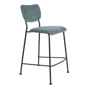 Blue grey Velvet counter stool Benson Zuiver