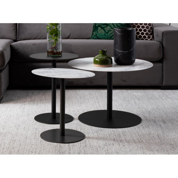 Set of 3 side tables Snow