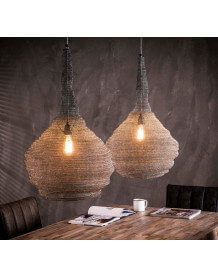 Double iron mesh pendant lamp
