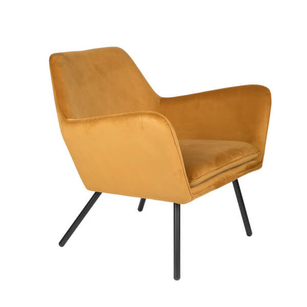 Alabama velvet lounge chair gold