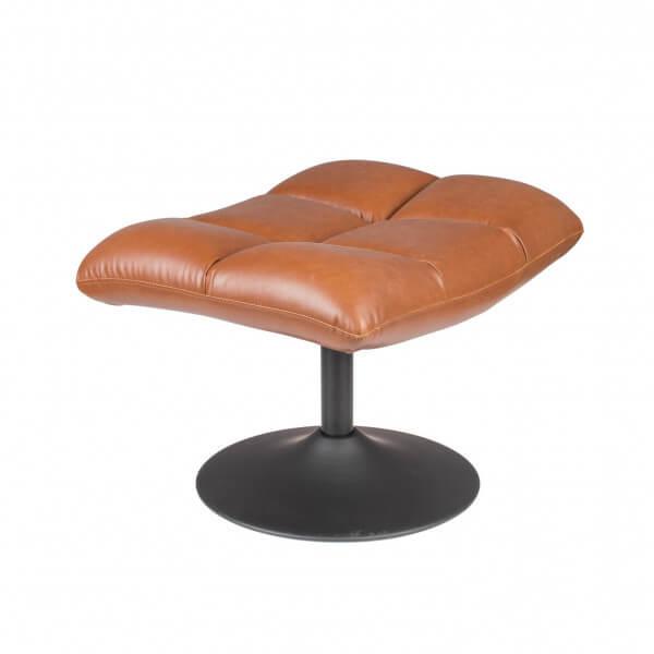 Repose pieds marron cuir vintage